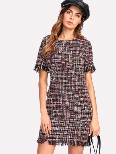 Fringed Trim Tweed Dress