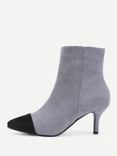 Two Tone Pointed Toe Suede Boots