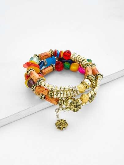 Charm Detail Beaded Layered Bracelet