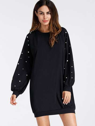 Pearl Beading Raglan Sweatshirt Dress