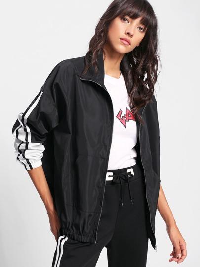 Contrast Striped Sleeve Windbreaker Jacket