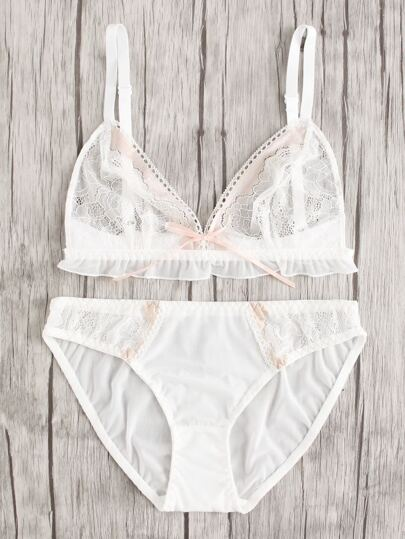 Frill Trim Lace & Mesh Lingerie Set