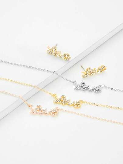 Set collar colgante de letras Love de diamante de imitación & pendientes