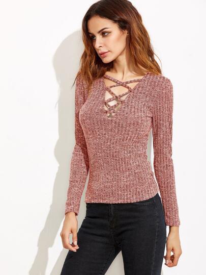 Plunge Crisscross Marled Knit Ribbed T-shirt