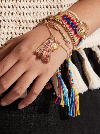 Tassel Charm Woven Design Bracelet Set