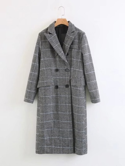 Double Breasted Longline Houndstooth Coat