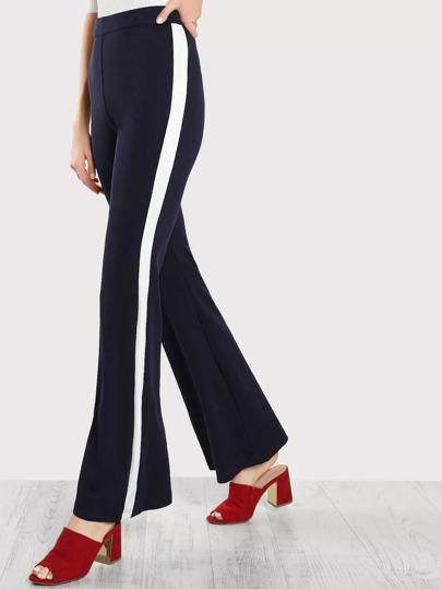 Wide Leg Contrast Striped Pants NAVY