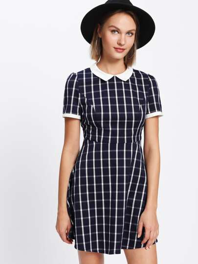 Contrast Collar Plaid Fitted & Flared Dress
