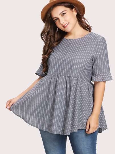 Pinstriped Tie Back Babydoll Blouse