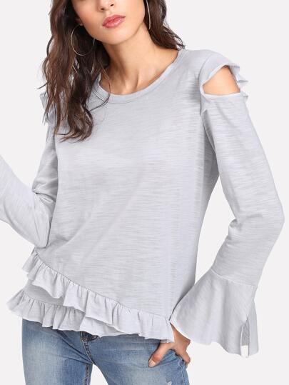 Open Shoulder Heather Knit Ruffle T-shirt