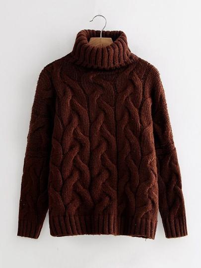 Pull col roulé en tricot à câble