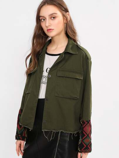 Pocket Front Tribal Jacquard Cuff Raw Cut Jacket