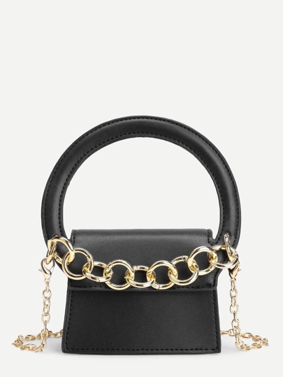 Модная кожаная сумка на цепочке с ручкой