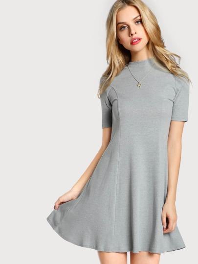 Mock Collar Flare Dress GREY