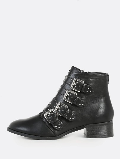 Studded Buckle Booties BLACK