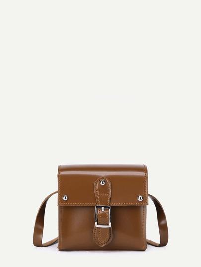 Buckle Front PU Shoulder Bag