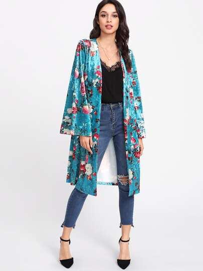 Kimono in velluto con stampa di rosa