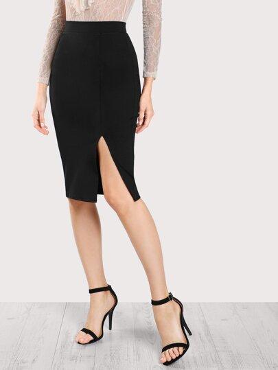 Slit Front Form Fitting Skirt