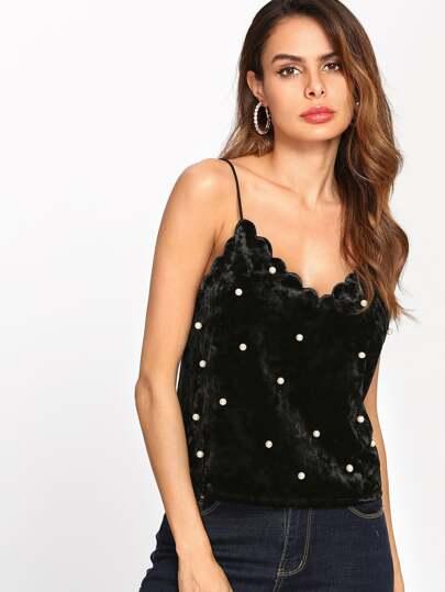 Camisola de terciopelo con perlas