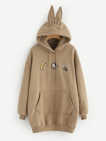 Patched Detail Longline Rabbit Hoodie