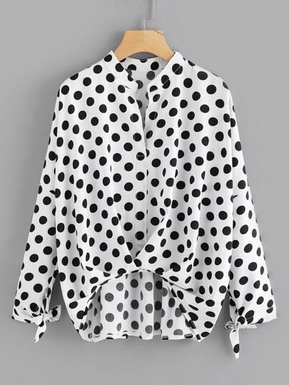 Polka Dot Drop Shoulder Pleated Detail Blouse