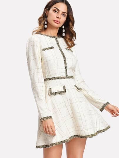 Fringe And Pearl Embellished Tweed Dress