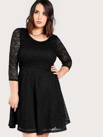 Sheer Lace A Line Dress BLACK