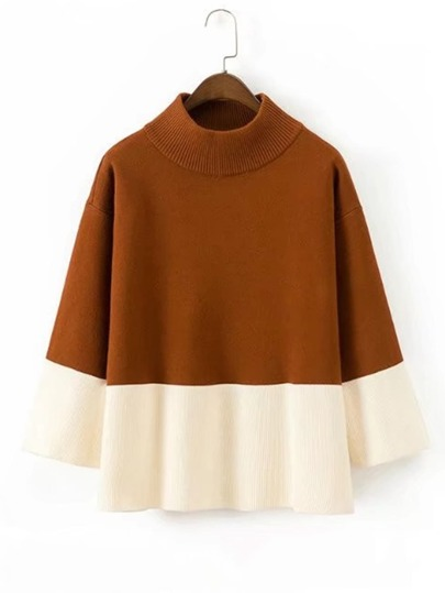 Two Tone Rib Knit Sweater