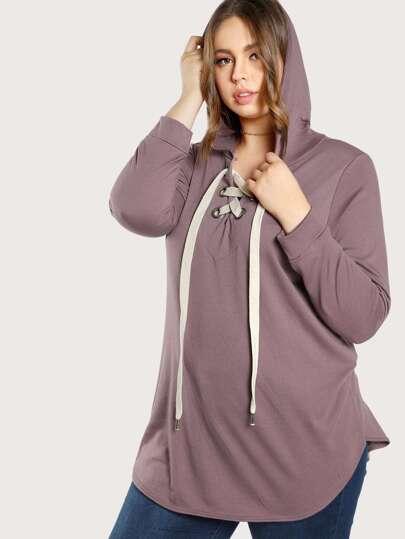 Front Tie Basic Hoodie Sweater PURPLE