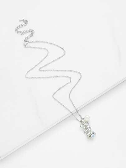 Collar de cadena colgante de perla artificial y campana de navidad