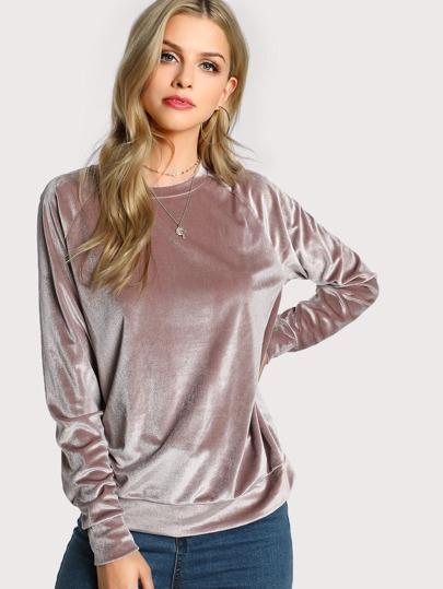 Velvet Long Sleeve Sweatshirt PINK