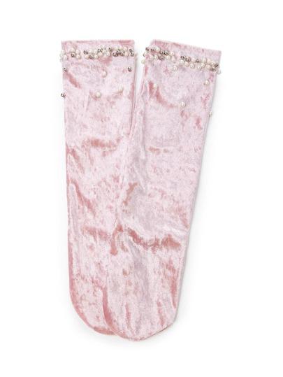 Faux Pearl Decorated Velvet Socks