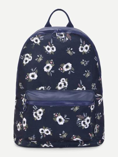 Calico Print Pocket Front Canvas Backpack