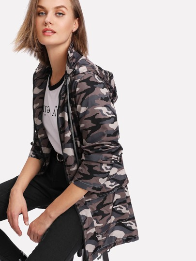 Print Back Camo Jacket With Drawstring Hoodie