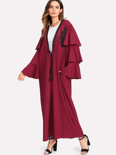 Tasseled Tied Layered Sleeve Embroidery Applique Abaya