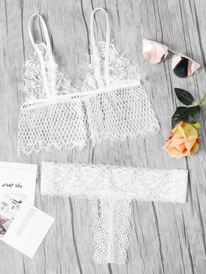 Eyelash Lace Longline Net Lingerie Set