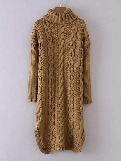 Cable-knit Turtleneck Sweater Dress