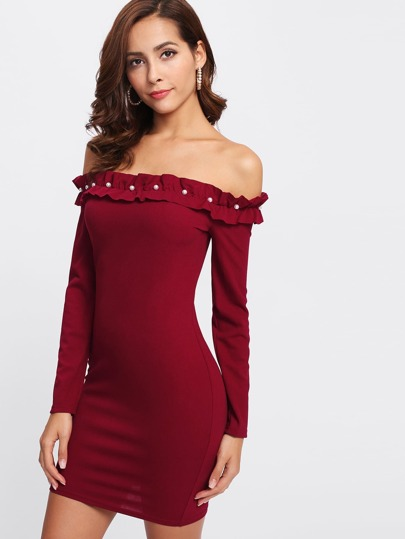 Pearl Frilled Detail Bardot Form Fitting Dress