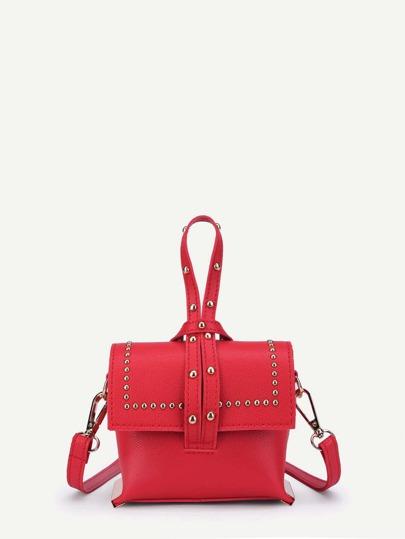 Studded Detail PU Shoulder Bag With Handle