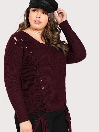 Lace Up Knit Sweater PURPLE