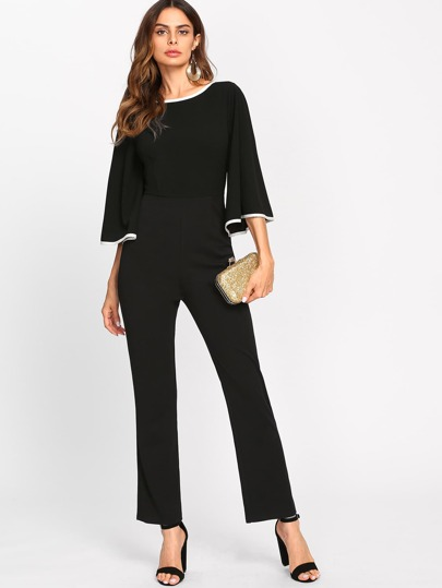 Contrast Binding Fluted Sleeve Tailored Jumpsuit