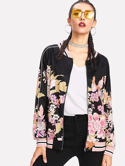 Piping Detail Striped Trim Floral Bomber Jacket