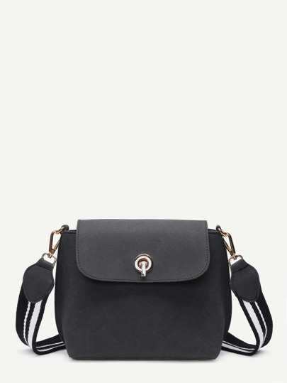 Zipper Back Flap Bag With Convertible Strap