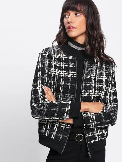 Tartan Plaid Ribbed Knit Trim Jacket