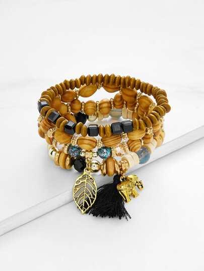 Leaf & Elephant Charm Beaded Bracelet Set