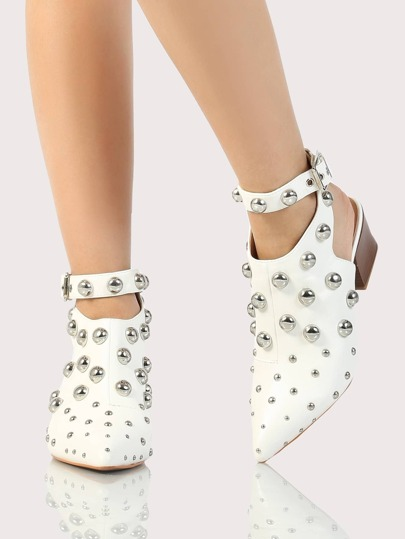 Ankle Strap Multi Studded Point Toe Booties WHITE