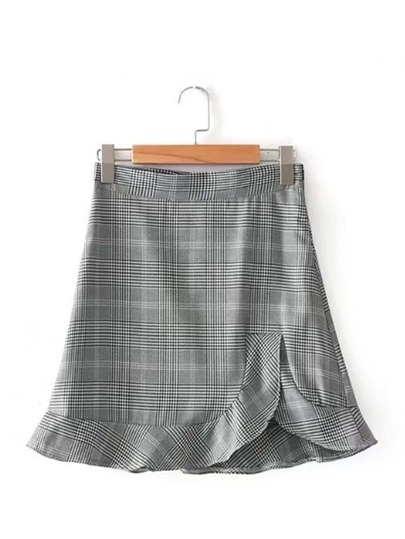 Ruffle Hem Plaid Skirt