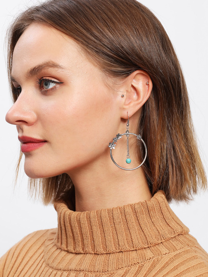 Flower Detail Hoop Drop Earrings