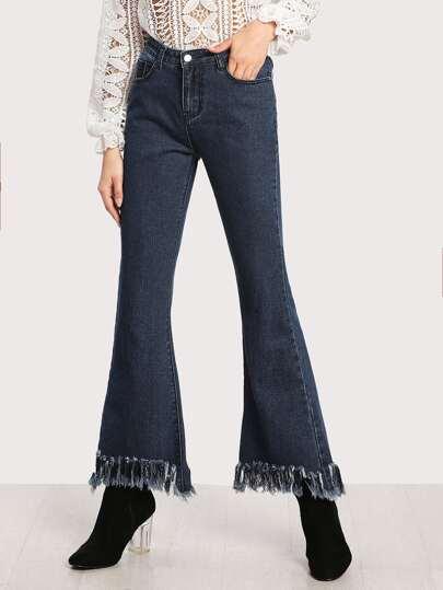 Модные джинсы с бахромой