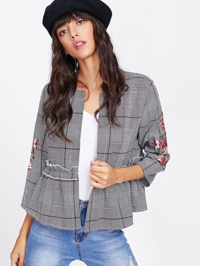 Flower Embroidered Ruffle Trim Plaid Blazer